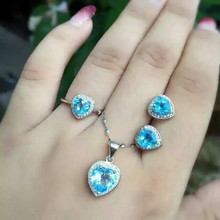 Natural blue topaz set S925 silver inlaid jewelry wholesale Sterling Silver Ring Pendant Earrings Set + FREE SHIPPING