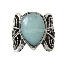 Cute Jewelry Vintage Women Silver Blue Jade Stone Ring Wedding Fashion Gem Ring Lady For Sale