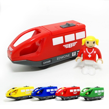 D554 Free shipping quality goods sell like hot cakes electric magnetic small locomotive driver wooden rail Thomas the train toy(China)