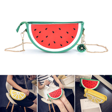new Sweet girl summer female bag quality pu leather women bag cute fruit packet chain shoulder messenger bag orange watermelon