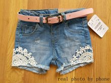 Baby Girls Fashion Summer Denim Shorts Girls Denim Shorts With Belt Kids Denim Short Pants Girls Lace Shorts(China)