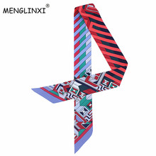 2018 New Fashion Striped Flaid Print Silk Scarf For Bag Ribbons Womens Luxury Brand Head Scarf Scarf Small Long Scarves C62(China)