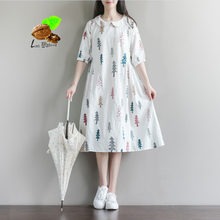 Women Cute 100% cotton Retro print 2017 christmas tree print Peter pan collar one-piece dress all-match half sleeve dresses(China)