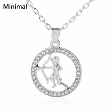 Minimal New Arrival Crystal Rhinestone Hollow Pendant Necklaces Fashion Toxophily Sports Charm Necklace Jewelry Accessories 5pcs(China)