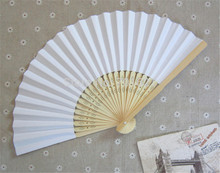 Free Shipping 10 pcs/lot 21 cm White color Paper Hand Fan Wedding Party Decoration Promotion Favor(China)