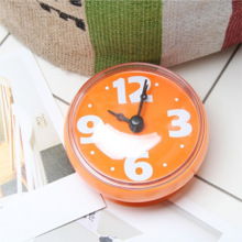 Orange Round Waterproof Reloj Shower Electronic Sticking Bathroom Wall Clocks Suction Clocks Sticker on Mirror(China)