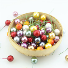 1.2cm 50pcs Super pearl Plastic Stamens Artificial Flower small Berries Cherry For Wedding Christmas Cake Box Wreaths Decoration