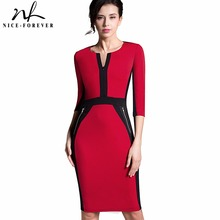 Nice-forever Office Women Zipper special New Arrival Plus Size fashion patchwork V neck formal work bodycon Midi dress 837(China)