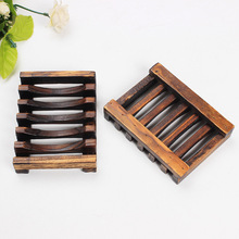 Environmentally friendly wooden soap dish kitchen draining tray for plate case home shower soap holder(China)