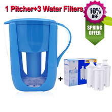 Household Water Pitcher Kitchen Water Filter Kettle 1 Pitcher+3 Cartridge Water Filters Activated Carbon for Brita Filter 10Cups(China)