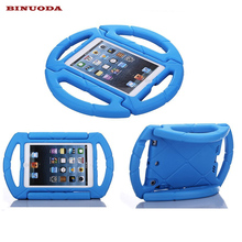 For Coque iPad Mini Case Kids Shockproof Steering Wheel Handle EVA Foam Cases Cover for Apple iPad Mini 1 2 3 4(China)