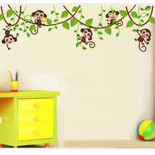 Cute mini monkeys Wall Stickers for kids room Art Decals Vinyl 3D animals plants Wallpaper sticker bedroom nursery home decor(China)