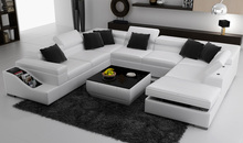 white U shape living room couch