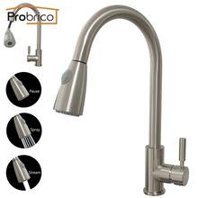 Probrico Brushed Nickel Mixer Water Tap Pull Out Down Swivel Spout Kitchen Sink Faucet Brass KFQY0202SN USA Domestic Delivery(China)