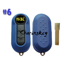 5pcs/lot 3 Button Auto Flip Key Shell For Fiat Panda Punto Blue Colour