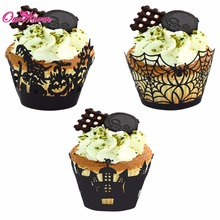 12pcs/lot Hollow Laser Cut Cupcake Wrappers Halloween Decoration Cake Accessory Party Decorations Event Party Supplies