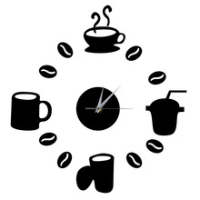 DIY Modern Home Decoration Large Coffee Cup Decal Kitchen Wall Clocks Silent Watch Decals Home Quartz Circular Needle Modern