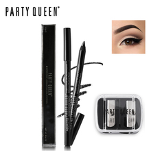 Party Queen Smooth Gel Eyeliner Pencil Black Brown Pen Waterproof Long Lasting Kohl Eyes Liner + Duo Holes Sharpener Makeup Set(China)