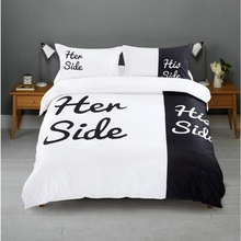 Her Side His Side Couple's Bedding Sets 4 pcs Duvet Cover Bed Sheet Pillow Cases Size Queen White & Black