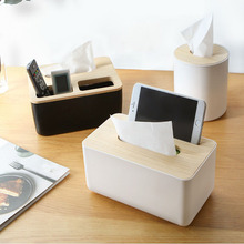 European Style Tissue Box Dispenser With Oak Wooden Cover Paper Home Car Napkins Holder Home Decoration Pumping Paper Container(China)