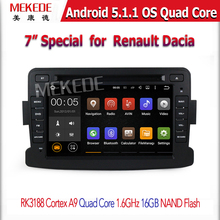 Quad Core Pure Android 5.1.1 GPS Navigator Radio car dvd For Dacia Renault Duster Logan Sandero stereo Central Cassette Player