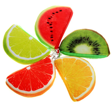 KEENICI Kawaii Cute Crescent Watermelon Oranges Printed Key Holder Kids Purse Mini Wallets Money Bag Female Change Pouch Gifts