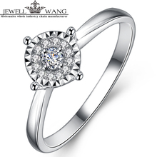 JEWELLWANG 1 Carat Effect Diamond Ring 18K White Gold Rings for Women Light Luxury Classic Engagement Rings Girls Fine Jewelry(China)