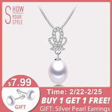 (High) 저 (Quality 100% Natural 담수 흰 펄 펜 던 트 Necklace Women 패션 925 Sterling Silver Crown 지르콘 보석 45 cm(China)