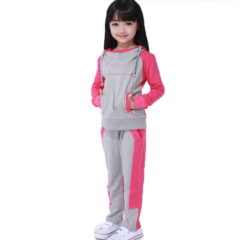 Girls clothing sports suit 2017 new girls in the big boys leisure set of childrens spring and autumn section of two<br>