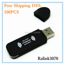 100pcs 802.11 B/GN Wireless Lan Adapter Ralink RT3070 WIFI USB Adapter 150Mbps wholesale Factory