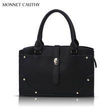 MONNET CAUTHY Bag Women Solid Color Black Brown White Red Tote Bags Retro Socialite Style Fashion Baguette Handbags Crossbody