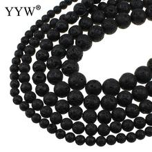 YYW Natural Lava Beads 6/8/10/12/14/16MM Round DIY Making Loose Beads Beading DIY Accessories Real Black Lave Stones Beads
