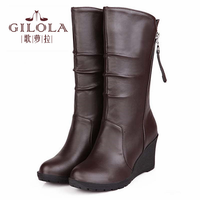 new thick fur inside wedge high heels half knee high women snow boots womens boots autumn winter shoes woman best #Y1150028F<br><br>Aliexpress