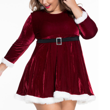 Female Cosplay Dress with Belt O-neck Long Sleeve Hooded Santa Claus Costume for Woman Suitable for All Years Red Velvet Dresses(China)