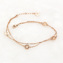 1Pcs Unique five round circle love adjust Chains Anklet souvenir Bracelet, stainless steel Ankle double layer Chain Foot Jewelry