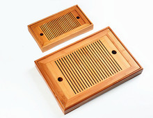 Hot Sale 2 Size Kung Fu Tea Set Natural Wood Bamboo Tea Tray Rectangular Traditional Bamboo Puer Tea Tray Chahai Tea Table