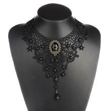 1PCNew Hot Women Black Lace& Beads Choker Victorian Steampunk Style Gothic Collar Necklace Nice Gift For Women(China)