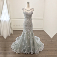 Real Photo Gray Lace Beaded Evening Dresses Backless Lace Appliques Women's Special Occasion Party Dress Customize Prom Gown(China)