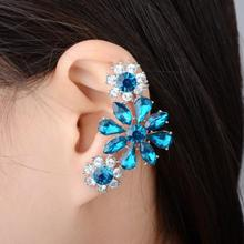 Fashion Crystal Flower Clip On Earring 2017 Punk Rhinestone Women Ear Wrap Cuff Earrings 1psc Left ear