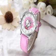 Fashion O.T.SEA Brand Lovely Hello Kitty Leather Watch Children Girl Women Crystal Dress Quartz Wristwatch(China)