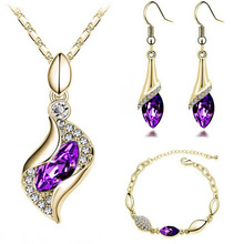 H:HYDE Fashion Design Luxury CZ Crystal Jewelry Drop Earring+Pendant Necklace Set Gold Color Women Wedding Jewelry Set