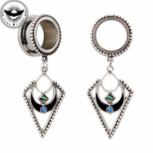 Dark Light 1Pair Surgical Steel Ear Tunnel Reamer Ear Plug Bohemia Style Dangle Gauges Body Piercing Jewelry Ear Expander 6-30mm(China)