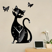 cat diy home decor large digital wall clocks modern design,decorative mirror wall clock watches vintage