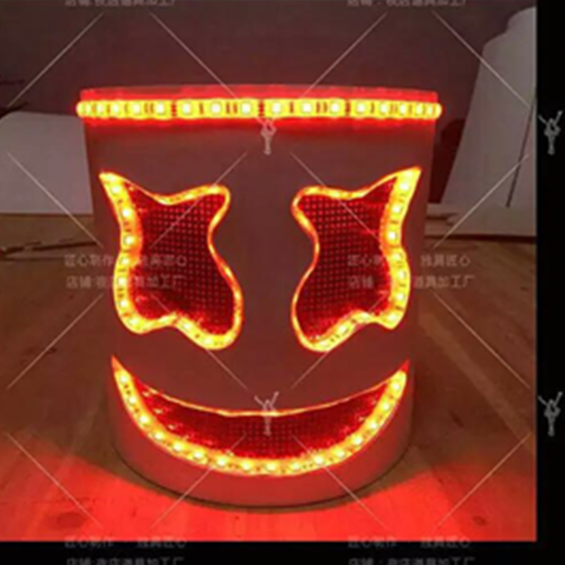 LED Light Marshmello DJ Mask Cosplay Helmet Halloween Prop DJ Masks Party Props Costume Gift toy DIY