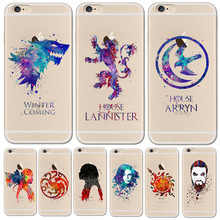 Watercolor art Game Of Thrones Phone Case For iPhone 6 6S 6Plus 5 5s SE 7 7S 7Plus 8 Clear TPU Cover For Funda iPhone 7 7S Cases(China)