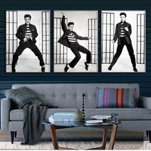 Elvis Presley!3 Pcs/set Modern Framed Figures Canvas Print Painting Fashion Dancer In White Home Decor Portrait Painting