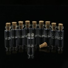 Hot Sale 10pcs 0.5mL Mini Small Tiny Clear Cork Stopper Glass Bottles Vials Wholesale#T025#