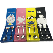 Baby Kids Dinnerware Sets Baby Tableware Cartoon kitty Jingle Cat Baymax Minions Tableware Suit Stainless Steel Fork K0217(China)