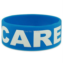 100pcs One inch I care Awareness wristband silicone bracelets free shipping by FEDEX(China)
