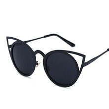 New Women Sunglasses Women Vintage Cat Eye Sun glasses Metal Eyeglasses Frames Mirror Shades Sexy Sunnies(China)